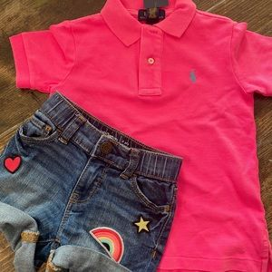 NWT pink POLO,baby gap shorts worn once 💗both 2T